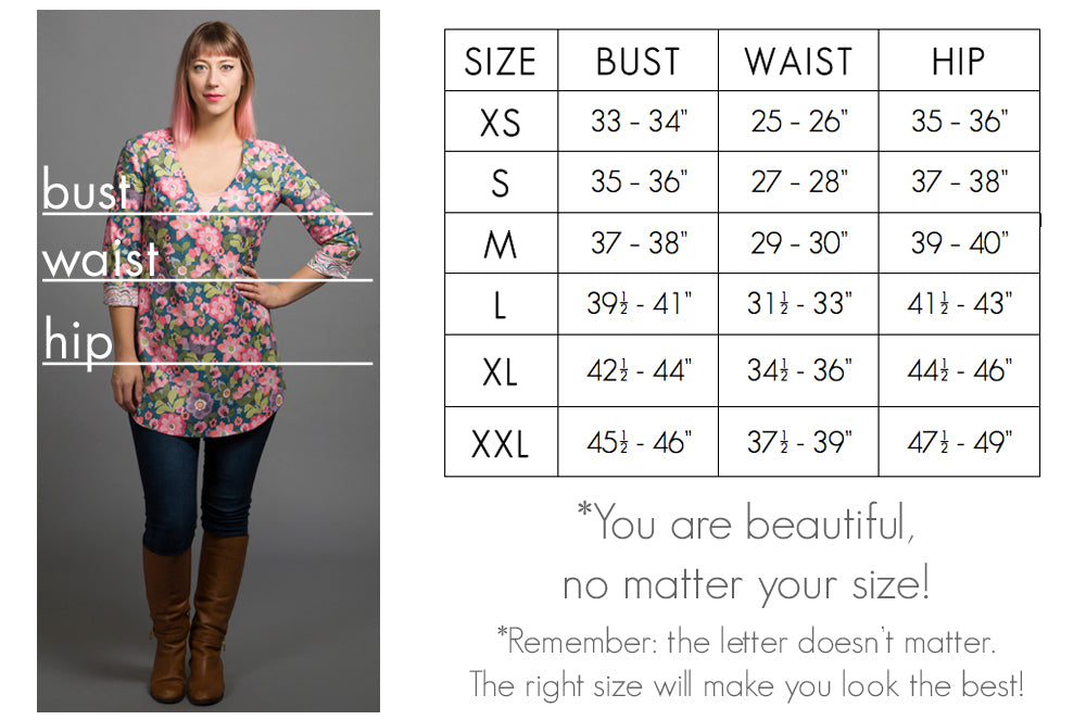 size chart for mallory fashion collection