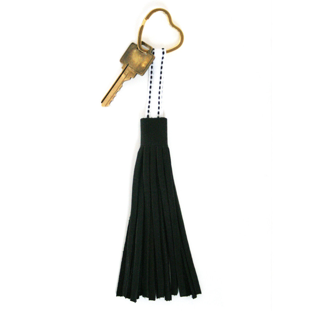 Black Leather Tassel Keychain, Physical, Mallory
