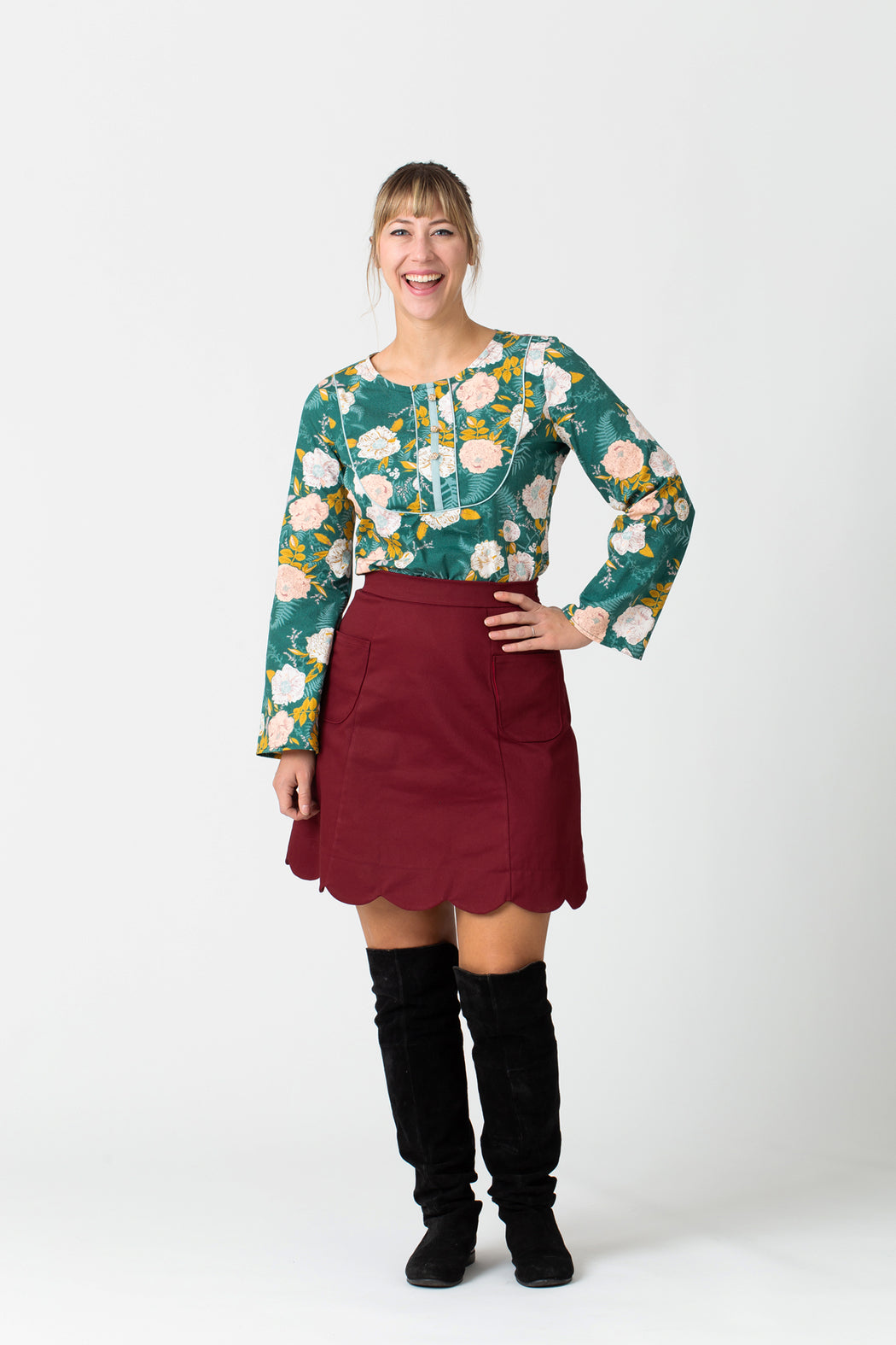 Cranberry Scalloped A-Line Skirt