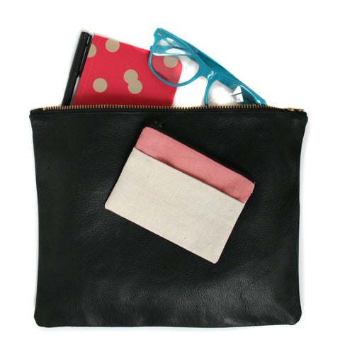 Large Black Leather Pouch