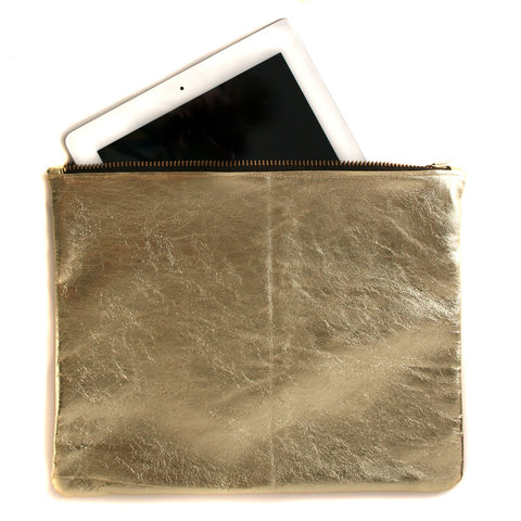 Large Gold Leather Pouch
