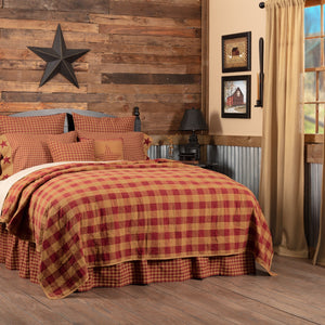 Burgundy Check Bedding