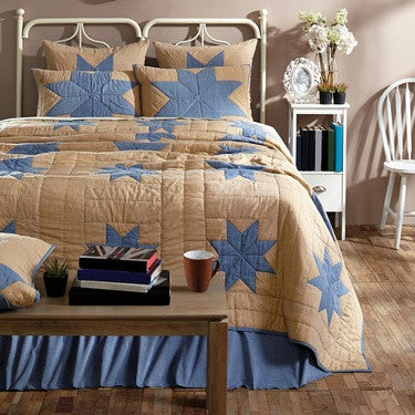 Chambray Star Quilted Bedding