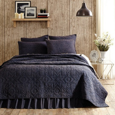 Cheyenne Blue Leather Quilted Bedding