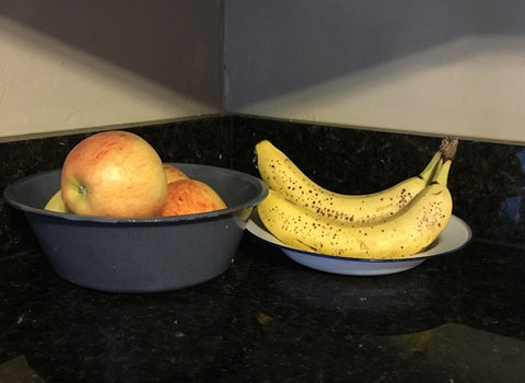 Fruit in antique pans