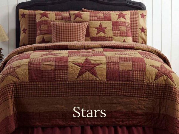 Primitive Quilt with Star Pattern Designs