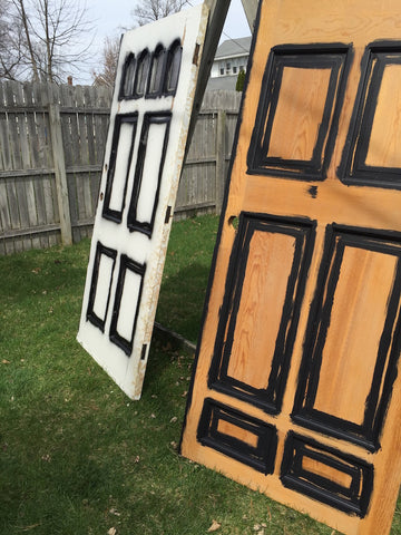 Antique doors being painted