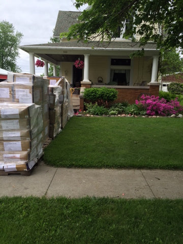 Boxes in front yard