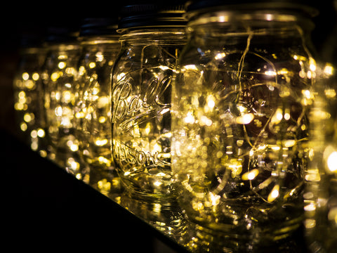 mason jars filled with fairy lights