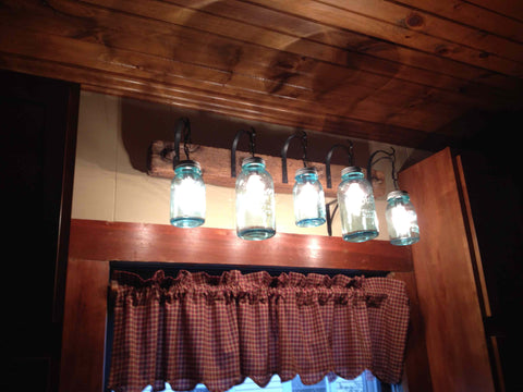 Mason jar lighting for the kitchen