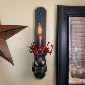 "12"" Black Wood Sconce - 4"" Mustard Grungy Timer Taper Candle"