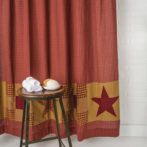 Ninepatch Star Shower Curtain - Primitive Star Quilt Shop