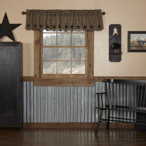 Black Star Scalloped Lined Valance 72""