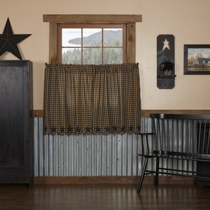 Black Star Scalloped Lined Tier Curtains 36""