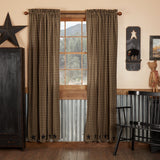 "Black Star Scalloped Lined Panel Curtains 84"" - Primitive Star Quilt Shop"