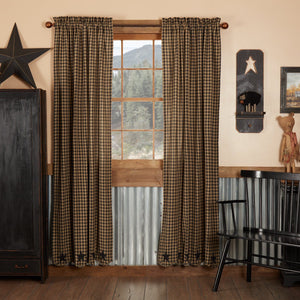 Black Star Scalloped Lined Panel Curtains 84""