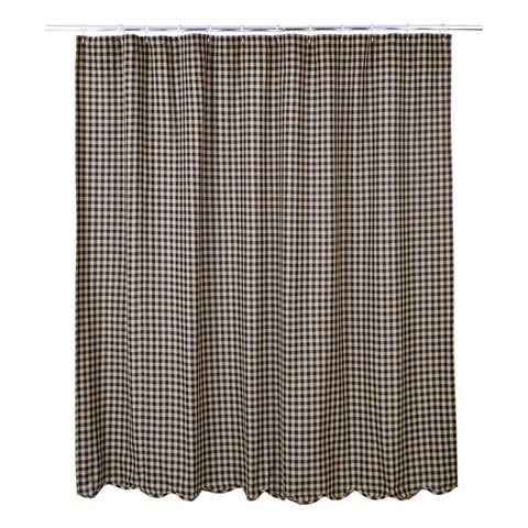 Black Check Scalloped Shower Curtain - Primitive Star Quilt Shop - 1