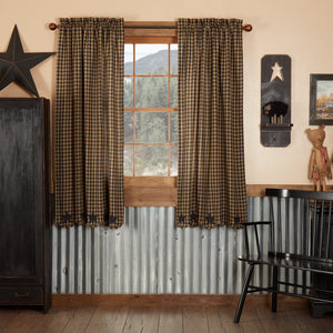 Black Star Scalloped Lined Short Panel Curtains 63""