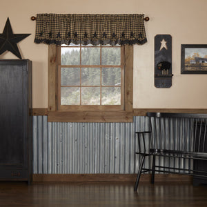 Black Star Scalloped Layered Lined Valance 72""