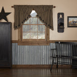 Black Star Scalloped Lined Prairie Swag Curtains - Primitive Star Quilt Shop
