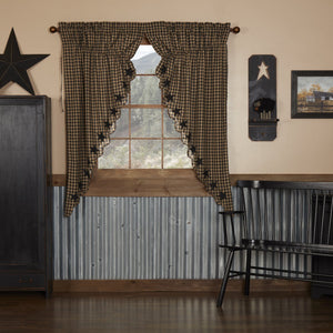 Black Star Scalloped Lined Prairie Curtains 63""