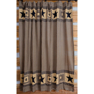 Colonial Star Black Shower Curtain