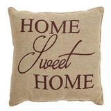 "Home Sweet Home Burlap Pillow 12x12"" - Primitive Star Quilt Shop"