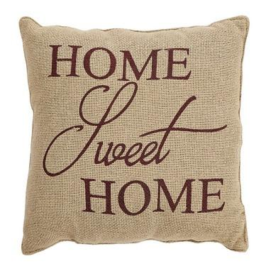 "Home Sweet Home Burlap Pillow 12x12"" - Primitive Star Quilt Shop - 1"