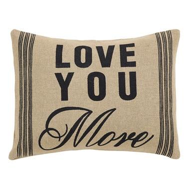 "Love You More Burlap Pillow 14x18"" Filled - Primitive Star Quilt Shop - 1"