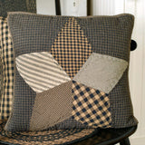 "Farmhouse Star Quilted Pillow 16"" Filled - Primitive Star Quilt Shop"