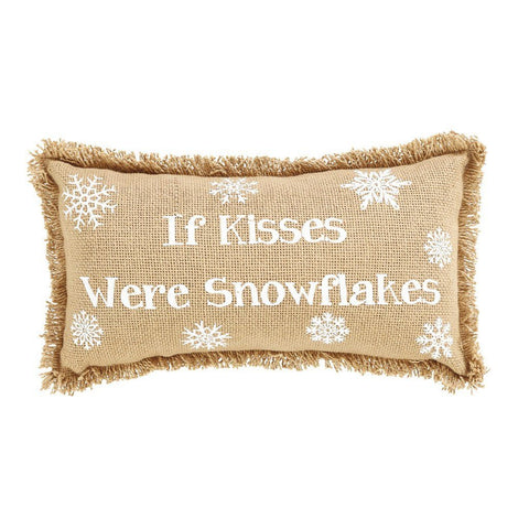 "Snowflake Burlap Pillows 7x13"" - Set of 2 - Primitive Star Quilt Shop - 1"