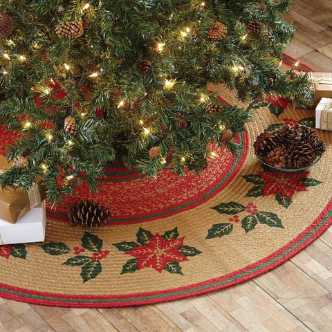 "Poinsettia Stencil Braided Christmas Tree Skirt 50"" - Primitive Star Quilt Shop - 1"