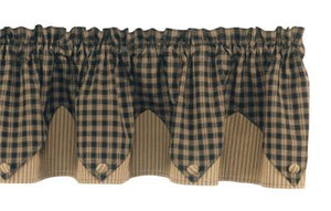 Sturbridge Black Pointed Lined Valance 72""