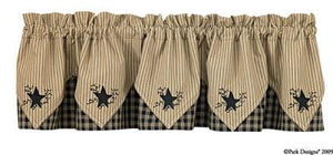 Sturbridge Black Embroidered Pointed Lined Valance 72""