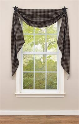 Sturbridge Black Lined Fishtail Swag Curtain