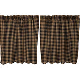 "Black Check Scalloped Lined Tier Curtains 36"" - Primitive Star Quilt Shop"