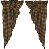 "Black Check Scalloped Lined Prairie Curtains 63"" - Primitive Star Quilt Shop"