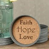 Faith Hope Love Mason Jar Lid Coaster - Set of 4 - Primitive Star Quilt Shop