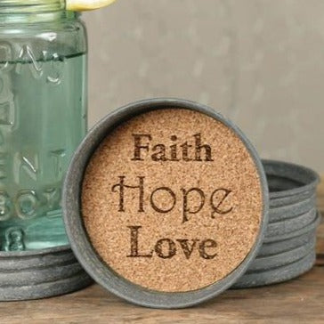 Faith Hope Love Mason Jar Lid Coaster - Set of 4 - Primitive Star Quilt Shop - 1