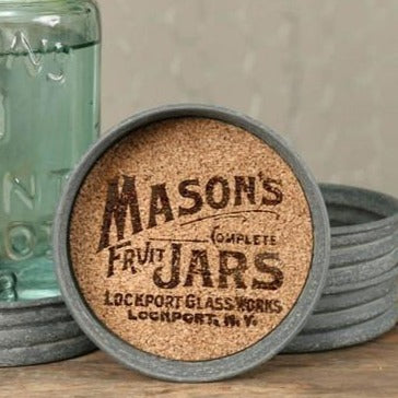 Mason Jar Logo Lid Coaster - Set of 4 - Primitive Star Quilt Shop - 1