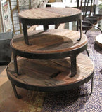 Reclaimed Wood Round Iron Risers - Set of 3 - Primitive Star Quilt Shop