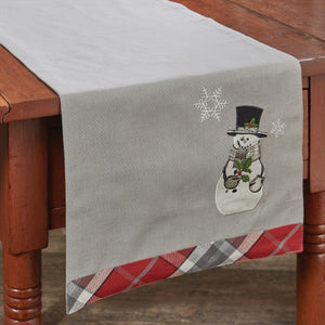 Sketchbook Snowman and Holly Table Runner 36""