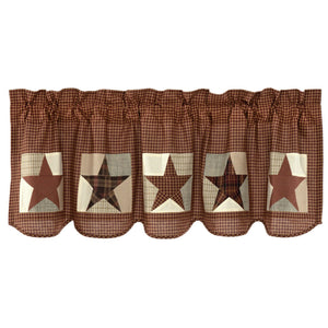 Abilene Patch Block and Star Scalloped Lined Valance 60""