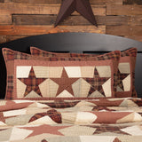 "Abilene Star Quilted King Sham 21x37"" - Primitive Star Quilt Shop"