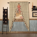 "Abilene Star Scalloped Lined Long Prairie Curtains 84"" - Primitive Star Quilt Shop"