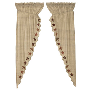 Abilene Star Scalloped Lined Long Prairie Curtains 84""