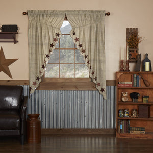 Abilene Star Scalloped Lined Prairie Curtains 63""