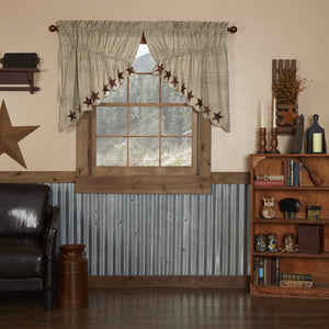 Abilene Star Scalloped Lined Prairie Swag Curtains