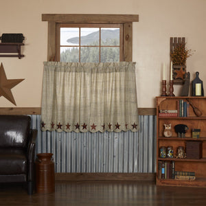 Abilene Star Scalloped Lined Tier Curtains 36""