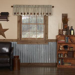 Abilene Star Scalloped Lined Valance 72""